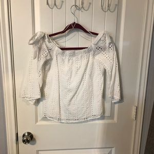 Off the shoulder white eyelet blouse